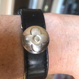 🔥🔥🔥LOUIS VUITTON silver &black leather bracelet